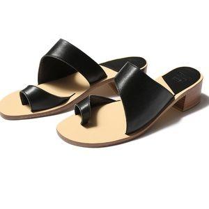 Maryam Nasir Zadeh Black Leather Slides Sandals